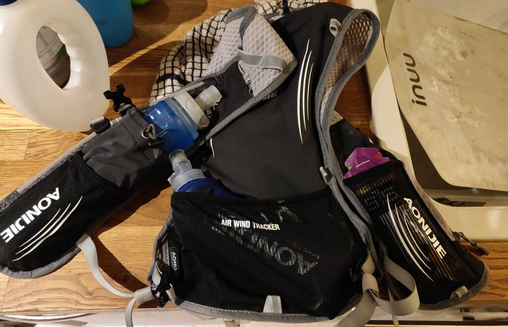 hydration pack with energy gels and fluids packed.