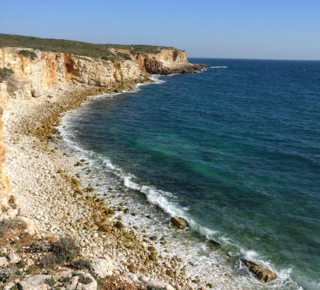 photo of cliffs and rocks on the southern coast of Portugal.