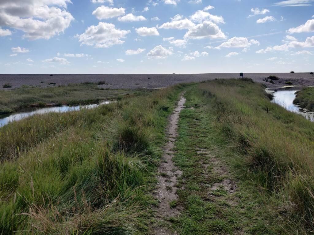 Dunwich coastal trail running, view of the beach ahead.