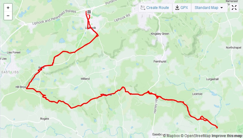 Strava route of South Downs ultra trail run. From Liphook to Petworth and back again.