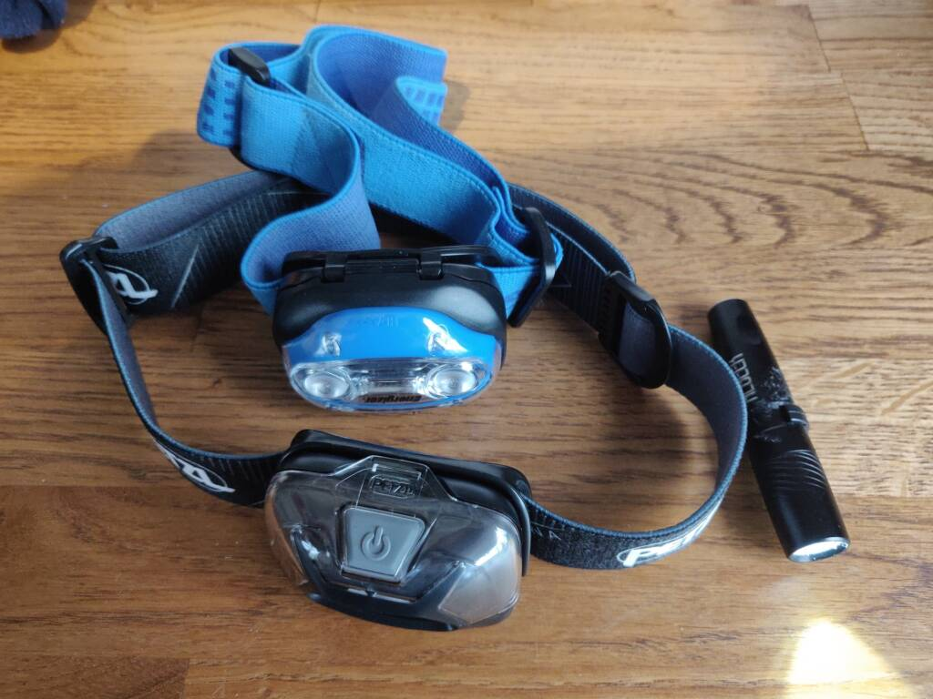 trail running gear for winter - LED headlamps and a directional torch