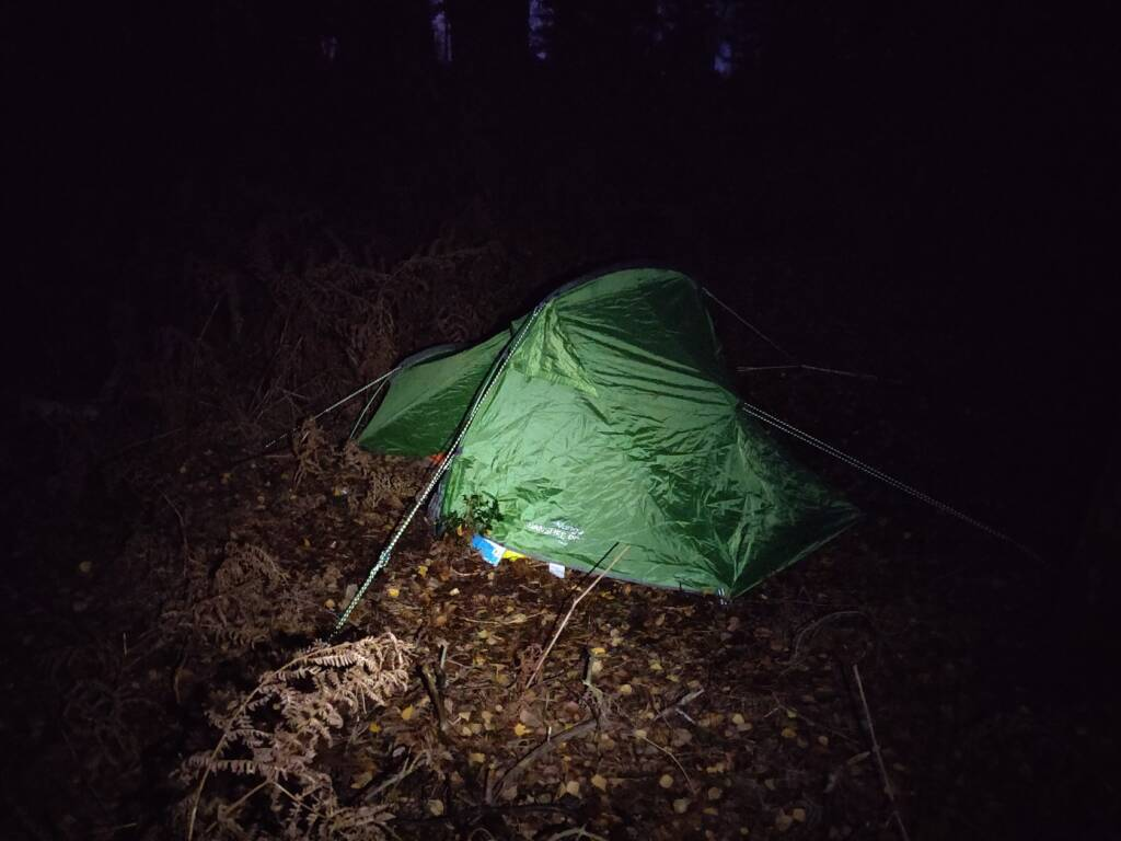 wild camp pitched tent at night.